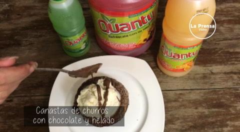 Coninado con Mayte: Canastas de churros con chocolate y helado