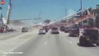 Así se desplomó el puente peatonal en Miami dejando 6 muertos
