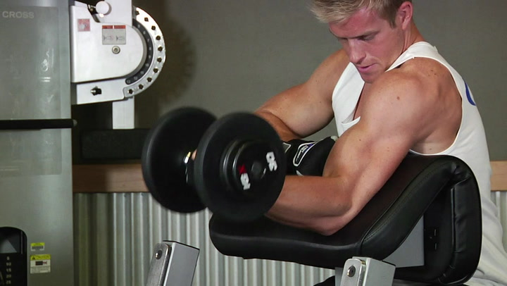 One Arm Dumbbell Preacher Curls - Biceps Exercise