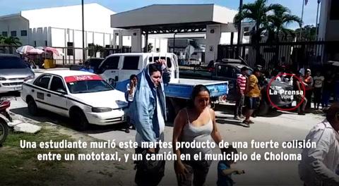 Estudiante muere en colisión de mototaxi y camión en Choloma