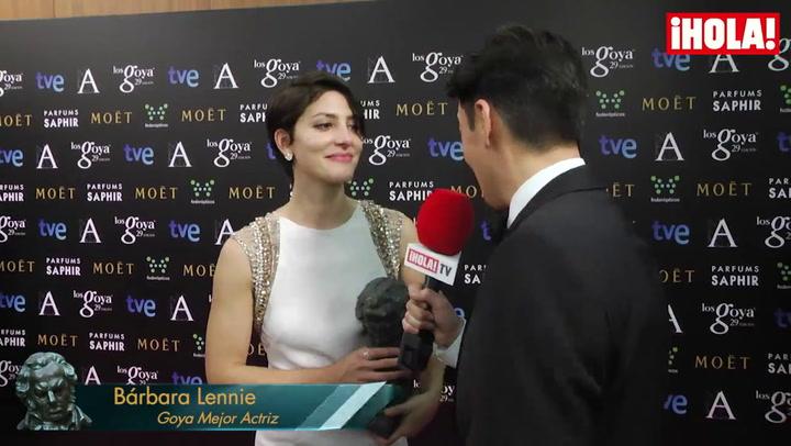Bárbara Lennie, con el Goya en las manos:  'Venía mentalizada para no llevármelo'