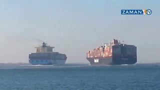 İki dev gemi Süveyş Kanalı'nda böyle çarpıştı