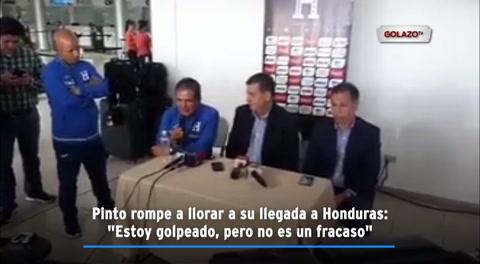 Pinto rompe a llorar a su llegada a Honduras