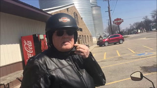 Easy riding: Corky Freeman of Montevideo, at Apol's in Raymond on Wednesday, said he found the right fit with a 750cc Harley.