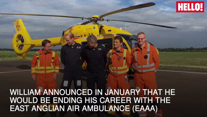 Prince William poses for group photo before final Air Ambulance shift