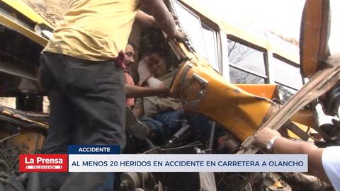 Choque de dos buses deja más de 20 heridos en carretera a Olancho