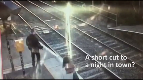 'Near miss' video shows Dublin train almost hit trespasser