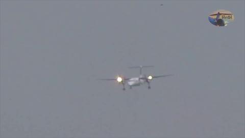 Avión realiza espectacular aterrizaje en medio del huracán Friederike