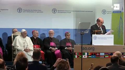 El papa pide en la FAO un mayor esfuerzo para acabar con el hambre