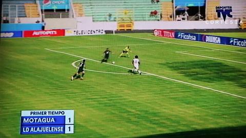 Motagua y Alajuelense empatan a uno en la primera mitad