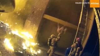 Bombreo logra rescatar a una niña que cayó de un edificio