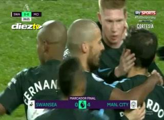 Manchester City golea al Swansea y no lo puede parar nadie en la Premier