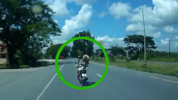 เจอคนใจถึง ยืนหนึ่งกลางถนน ทำรถตามหลังเกือบจะชนเอา