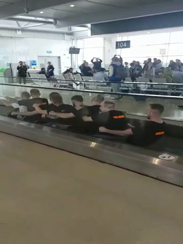 Video: Dunloy stag party 'row' their way through Dublin Airport