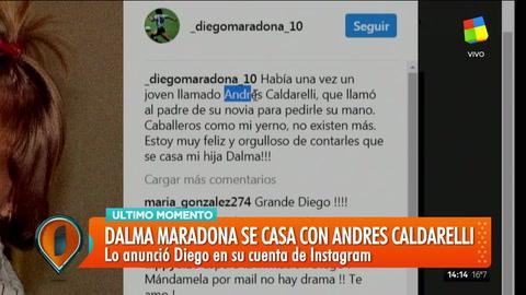 Diego Maradona sorprendió a todos y anunció que su hija Dalma ¡se casa!