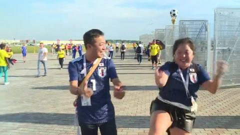 Japoneses celebran triunfo histórico, colombianos sufren derrota