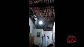 Burro cae sobre casa y queda colgado del techo de la cocina