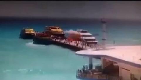 Explosión en barco caribe de Playa del Carmen