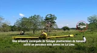 Avioneta fumigadora realiza aterrizaje de emergencia en La Lima