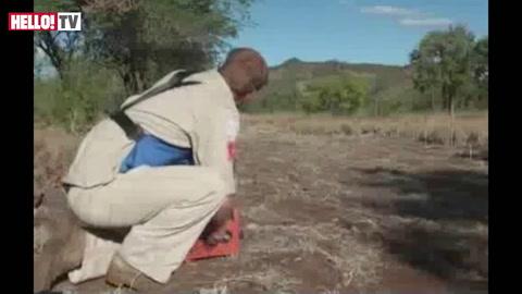 Prince Harry detonates a live mine in Mozambique