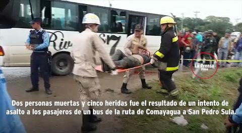 Dos muertos y cinco heridos deja intento de asalto a bus en Villanueva, Cortés