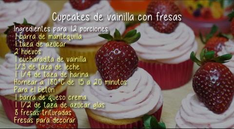 Cocinando con Mayte: Cupcakes de vainilla con fresas
