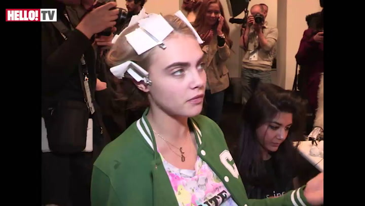 Backstage at London Fashion Week with Cara Delevingne