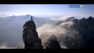 Bisikleti ile dağın zirvesine çıktı