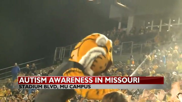 MU\'s Faurot Field lights up blue for World Autism Awareness Day