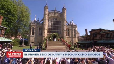 El primer beso de Harry y Meghan como esposos