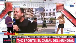 Un indigente ataca a periodista deportivo en plena transmisión en vivo