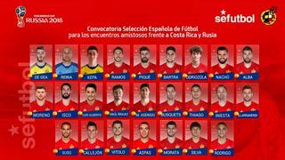 Selección de España presenta convocatoria final para el Mundial, sin Morata y Sergi Roberto