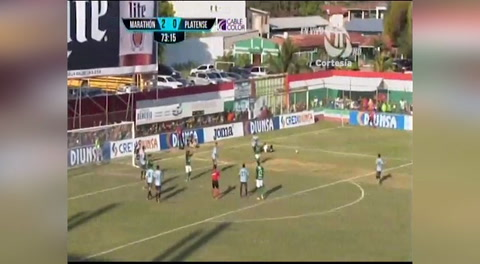 Tercer gol de Marathón al Platense (Liga Nacional 2018)