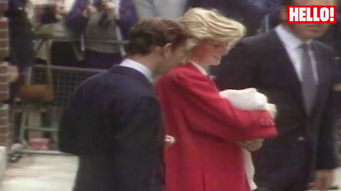 Prince Charles and Princess Diana leave the hospital with Prince Harry