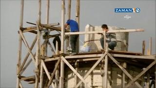 Minare inşaatında yürekleri ağıza getiren görüntüler