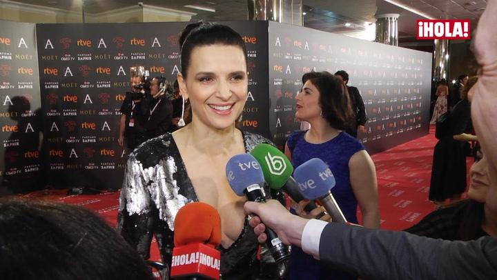 Juliette Binoche, glamour internacional en los Goya: \'Es un honor para mí estar aquí\'