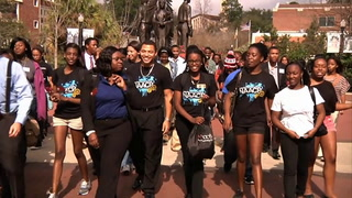 Students honor Dr. Martin Luther King Jr. during the annual Freedom March