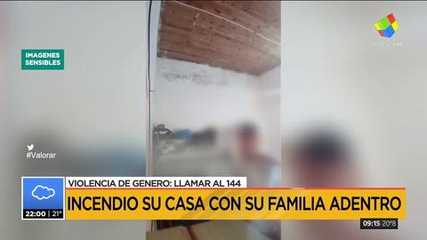 Incendió su casa con su familia adentro y grabó este video
