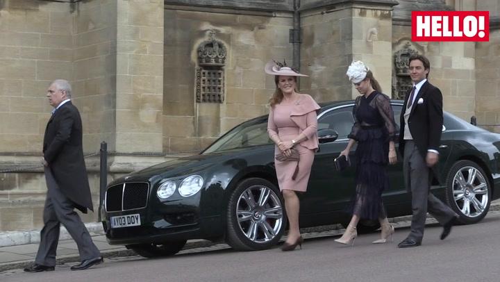 Duke and Duchess of York arrive at wedding of Lady Gabriella Windsor