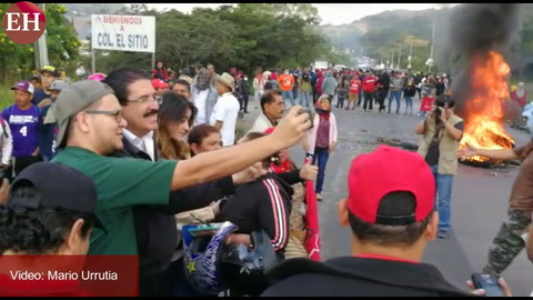 Manuel Zelaya encabeza protesta en salida hacia Valle de Ángeles