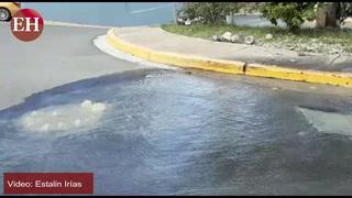 Contaminación: Colapsa tragante de aguas negras bulevar Morazán
