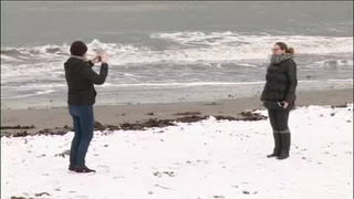 Playas españolas se cubren de nieve
