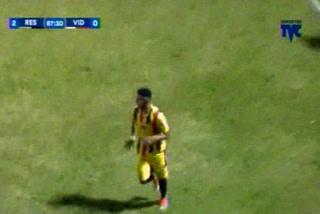 Mario Martínez anota el 3 - 0 del Real España ante el Vida
