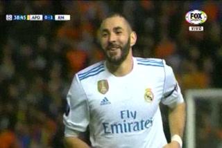 Karim Benzema anota el 2 - 0 del Real Madrid ante el Apoel