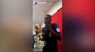 Paul Pogba se burla de los ingleses en la celebración de Francia en el camerino