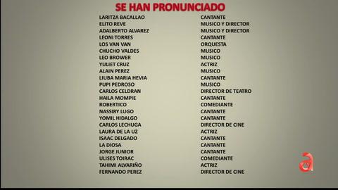 Lista de artistas que se han pronunciado ante la represion en Cuba