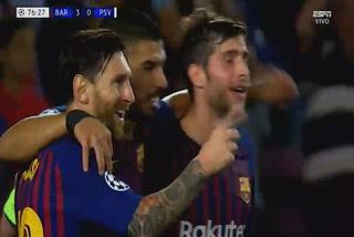 Messi anota el 1 - 0 del Barcelona ante el PSV