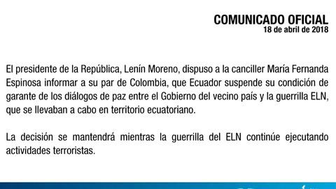 Ecuador deja de ser garante del proceso de paz entre Colombia y el ELN