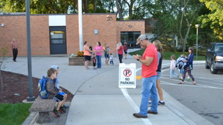 St. Croix Central Elementary students step off the bus for their first day of school of the 2016-2017 school year and are greeted by teachers and staff.