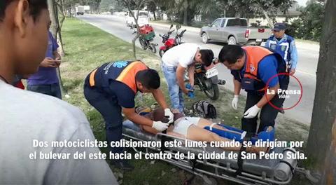 Chocan dos motociclistas en el bulevar del este de San Pedro Sula